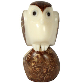 """Brown Owl Tagua Figurine  Crafted by Artisans in Ecuador  Measures 2-3/4"""" high x 1-1/4"""" wide x 1-1/4"""" deep"""
