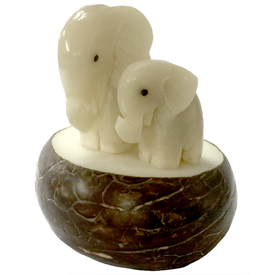 """Mama and Baby Elephant Tagua Figurine  Crafted by Artisans in Ecuador  Measures 2-1/4"""" high x 1-3/4"""" wide x 1-3/4"""" long"""