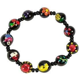 """Elastic Black Pacun Seed Bracelet with Assorted Painted Designs   Crafted by Artisans in El Salvador   Strand measures 2 7/8"""" long x 1/2"""" diameter"""