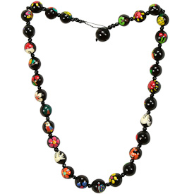 """Black Pacun Seed Collar with Assorted Painted Designs   Crafted by Artisans in El Salvador   Strand measures 19"""" long x 1/2"""" diameter, button style closure"""