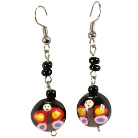 """Black Pacun Seed Earrings with Assorted Painted Designs,    Crafted by Artisans in El Salvador   Measures 1 3/4"""" long x 1/2"""" diameter, Sterling Silver Hooks"""