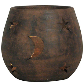 Moon and Stars Clay Luminary  Crafted by Artisans in El Salvador  Exterior measures 5 5/8 tall x 6 1/5 wide