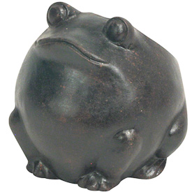 Frog Clay Planter   Crafted by Artisans in El Salvador   Exterior measures 5 high x 4 3/4 wide x 5 1/2 diameter