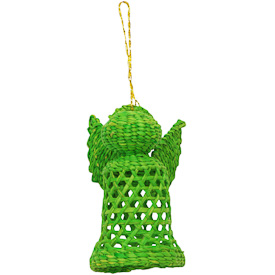 Jipi Japa Angel - Green   Crafted by Artisans in Bolivia   Measures 3 1/2 high x 2 1/2 wide x 1 5/8 diameter
