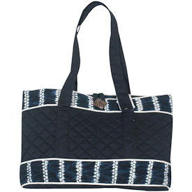 Indigo Quilted Tote Bag   Crafted by Artisans in El Salvador   Exterior Dimensions 10 3/4 height x17  wide x 2 diameter x 10 3/4strap drop