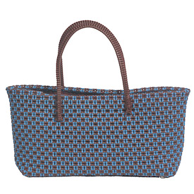Maggie - Brown and Blue Recycled Plastic Tote Measures: 7 high x 14 wide x 4 deep