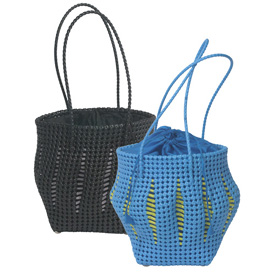 Recycled Plastic Tote w/ Lining - Lantern Shape Available in Black or Blue  Measures: 10 high x 10 diameter