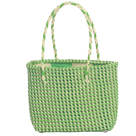 Small Recycled Plastic Tote - Green / Ivory Measures: 8 high x 9-1/4 wide x 3-1/2 deep