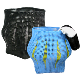 Recycled Plastic Wastebasket - Lantern Shape Available in Black or Blue Measures: 16-1/2 high x 15 dia.