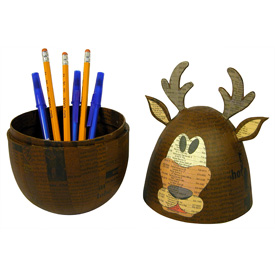 Paper Mache Reindeer Box handmade by artisans in   the Philippines