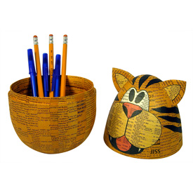 Paper Mache Tiger Box handmade by artisans in the Philippines