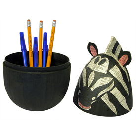 Paper Mache Zebra Box handmade by artisans in the Philippines