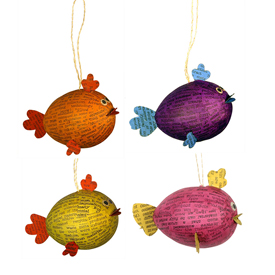 Paper Mache Fish Ornaments handmade by artisans in the Philippines