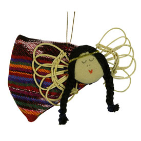 Flying Corn Husk Angel Ornament handmade in Guatemala
