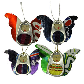 Recycled Pop Tab Angel Ornaments handmade in Guatemala