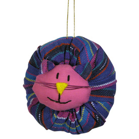 Plush Cat Ornament handmade in Guatemala