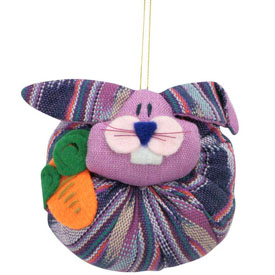 Large Cotton Plush Rabbit Ornament handmade in Guatemala