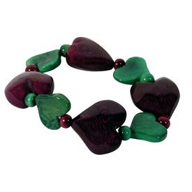 Purple and Aqua Tagua Heart Bracelet handmade by artisans in Ecuador