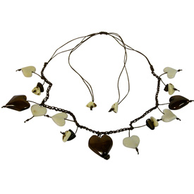 Natural Tagua Heart Necklace handmade by artisans in Ecuador