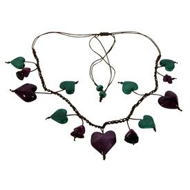 Purple Tagua Heart Necklace handmade by artisans in Ecuador