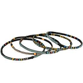 Assorted Narrow Colored Recycled Plastic Bracelets handmade by artisans from Burkina Faso