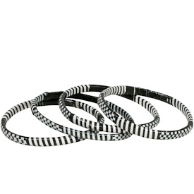 Black and White Recycled Plastic Bracelets handmade by artisans from Burkina Faso