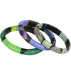 Wide Assorted Colored Recycled Plastic Bracelets handmade by artisans from Burkina Faso