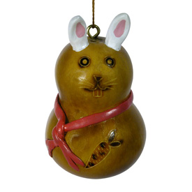 Ceramic Accented Bunny Rabbit Gourd Handmade by artisans in Peru