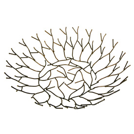 "Recycled Metal Twig Bowl Handmade by Artisans in India Measures 2-3/4"" high with 12"" diameter"