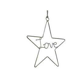 Recycled Wire Love Star Ornament handmade in India