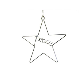 Recycled Wire Peace Star Ornament handmade in India