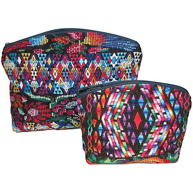 Huipil Cosmetic Bag with Geometric Design <br width=275 >Medium Measures 10 wide x 8 high Small Measures 7 wide x 6 high