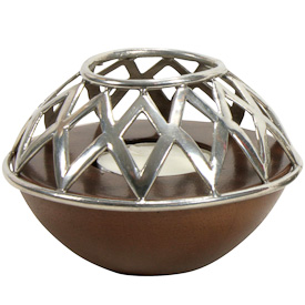 Diamond Design Stamped Tin Candle Holder handmade in Bolivia
