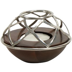 Shield Design Stamped Tin Candle Holder handmade in Bolivia