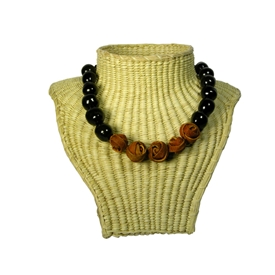 Tagua and Orange Peel Ball Necklace handmade by artisans in Colombia