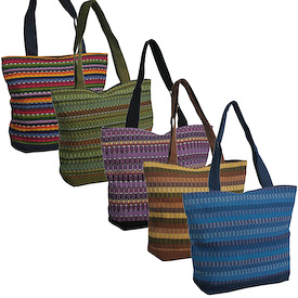 Panel Shoulder Bag handwoven in Guatemala - All Tones  Measures 17 wide x 14high