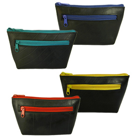 Small Recycled Tire Tube Cosmetic Pouch Measures 7 1/2 wide x 4 1/4 high x 4 deep