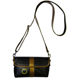 Dani - Shoulder Bag w/ Gold Leather Accents and Adjustable Strap, Recycled Tire Tube<br width=275 >Measures: 8-1/2 in. wide x 5 in. high x 3 in. deep.