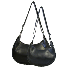 Bicy - Shoulder Bag made from Recycled Bicycle Tire and Tire Tube Large Measures: 14 in. wide x 8.5 in. high x 2.5 in. deep Small Measures: 10 in. wide x 6.25 in. high x 2 in. deep