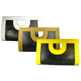 Anita - Large Clutch w/ Recycled Tire Tube & Leather Accents Measures: 16 in. wide x 10 in. high x 4.5 in. deep.