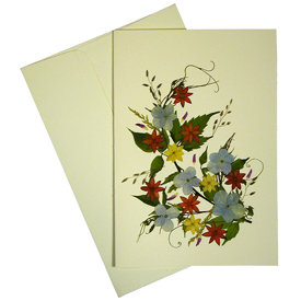 Bouquet - Handmade Floral Greeting Card Made by Woman Artisans in El Salvador Measures: 6-7/8 in. tall x 4-3/4 in wide