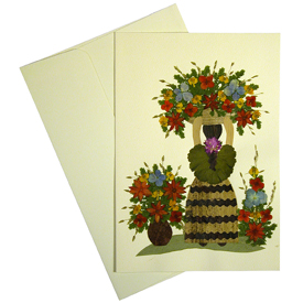 Flower Woman - Handmade Ethnic Floral Greeting Card Made by Woman Artisans in El Salvador Measures: 6-7/8 in. tall x 4-3/4 in wide