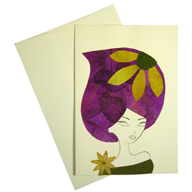 Vera - Handmade Floral Greeting Card Made by Woman Artisans in El Salvador Measures: 6-7/8 in. tall x 4-3/4 in wide