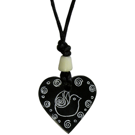 "Coal Heat Pendant with Dove  Crafted by Artisans in Colombia  Measures 1-1/2"" in height, 1-1/2 in width, and 1/4"" thick"