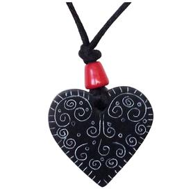 """Coal Heat Pendant with Swirls  Crafted by Artisans in Colombia  Measures 1-1/2"""" in height, 1-1/2 in width, and 1/4"""" thick"""
