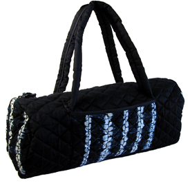 Indigo Quilted Sports Bag Exterior Dimensions 9'' high x 15'' wide x 8'' diameter x 7'' double strap drop, Zipper Closure, in and outside pocket from El Salvador