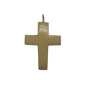 Tagua Cross Pendant 1-1/2'' tall x 1-1/4'' wide Handmade by Artisans in South America