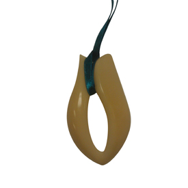 Tagua Ribbon Pendant 2'' tall x 1-1/4'' wide Handmade by Artisans in South America