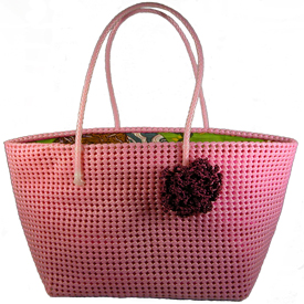 """Extra Large Lined Pink Tote  Crafted by Artisans in India  Measures 12-3/4'' high and is 14"""" wide x 9"""" deep at the base"""
