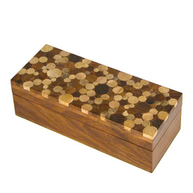 "Shesham Wooden Pencil Box with Mango wood inlay on top Measures 7-7/8"" wide x 3"" deep x  2 -1/4"" high"